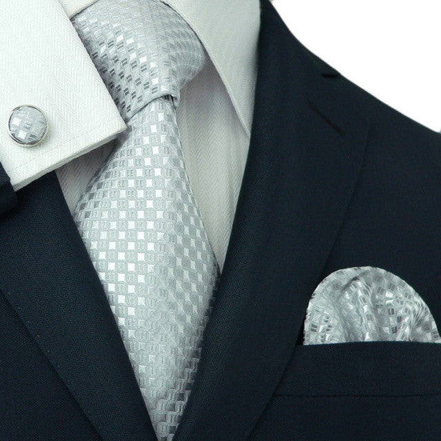 Silver and White Necktie Set JPM1816E
