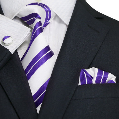Purple and White Striped Necktie Set JPM1810N