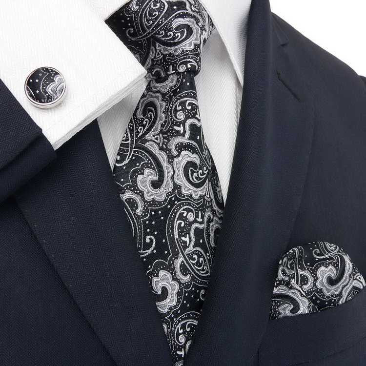 Black and Silver Paisley Wedding Tie Set  JPM1831E - Toramon Necktie Company