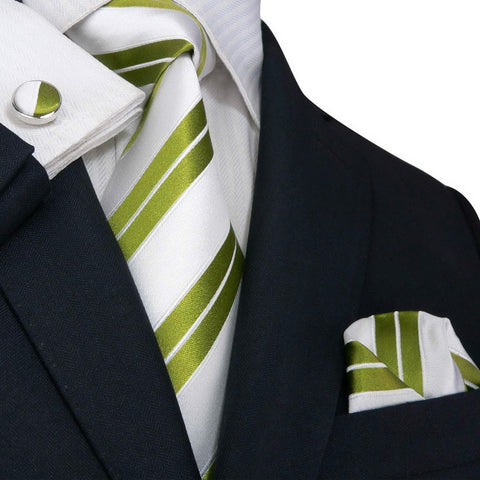 Lime Green and White Striped Silk Tie Set JPM1897M