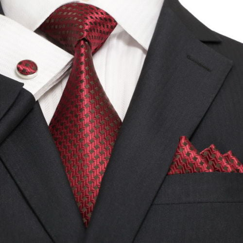 Red and Brown Check Necktie Set JPM18A13