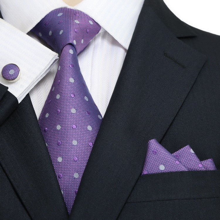 Purple and Gray Polka Dot Necktie Set JPM18A43