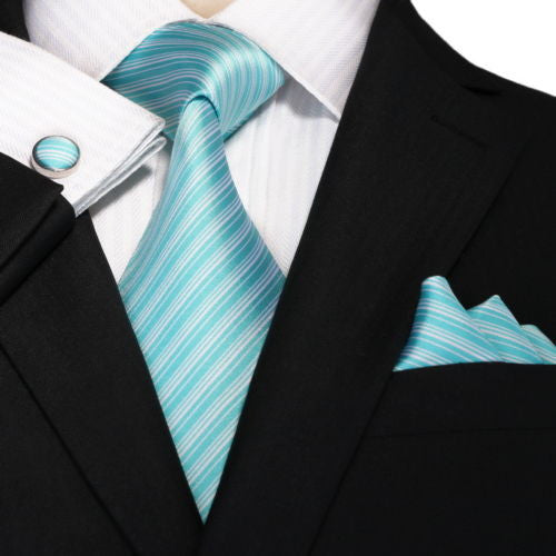 New- Tiffany Blue and White Stripe Wedding Tie Set   JPM18A64 - Toramon Necktie Company