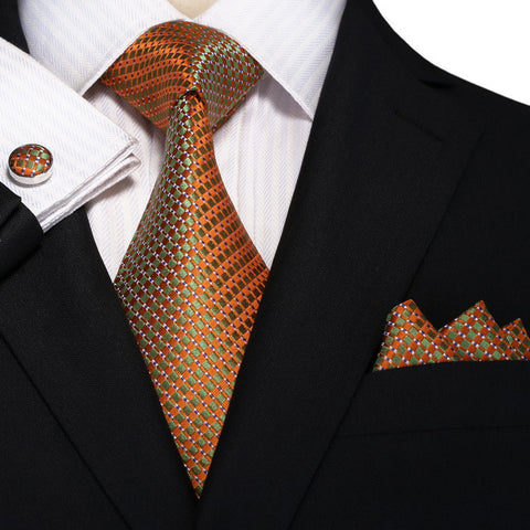 Metallic Orange and Green Necktie Set  JPM18A66