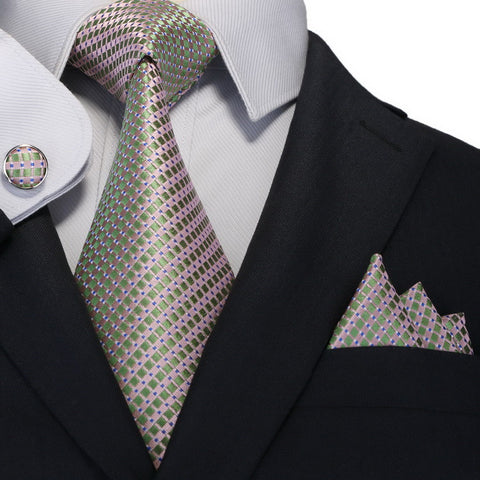 Pink ,Green and Blue Silk Necktie Set JPM18A67 - Toramon Necktie Company