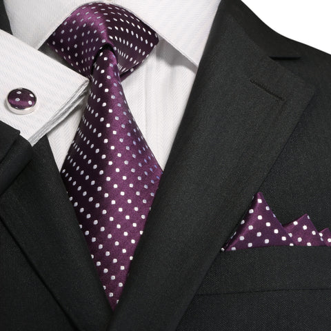 Purple and White Silk Necktie Set JPM18A73