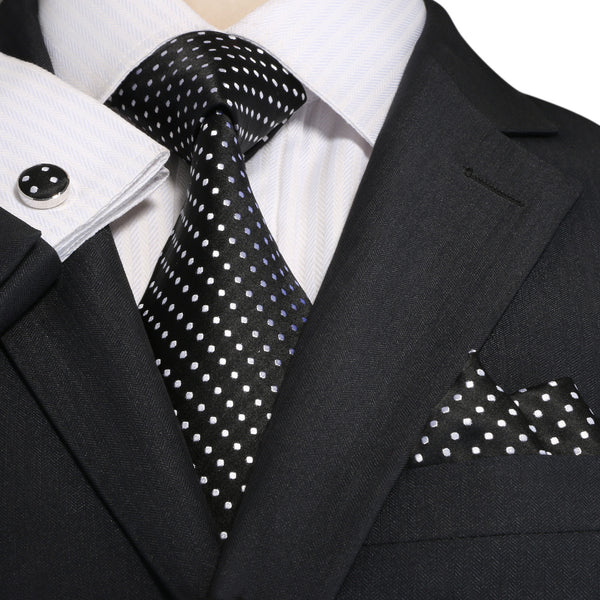 Black and White Silk Necktie Set JPM18A74