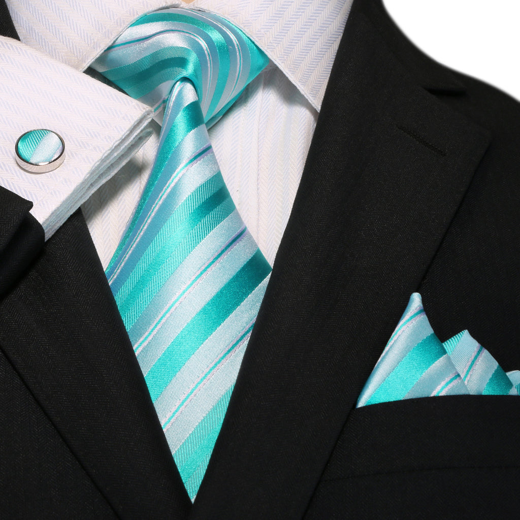 Tiffany Blue and White Stripe Necktie Set JPM18A83