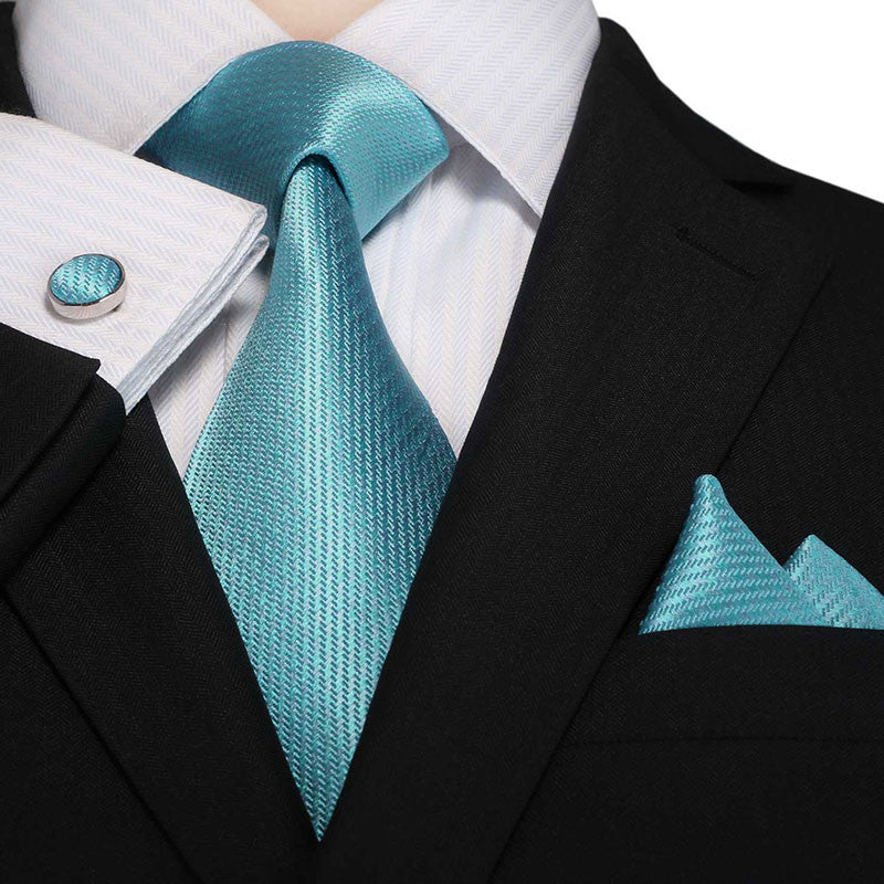 Teal Blue Silk Necktie Set JPM18A86