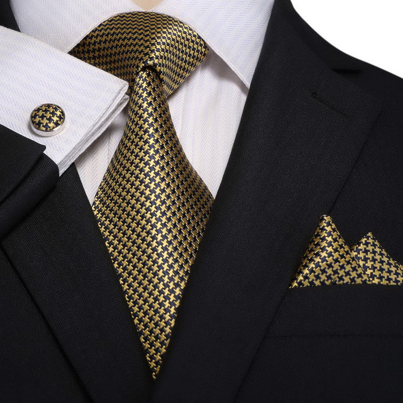 Golden and Navy Blue Silk Necktie Set JPM18A88