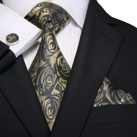 Gold and Navy Blue Rose Necktie Set  JPM18A90