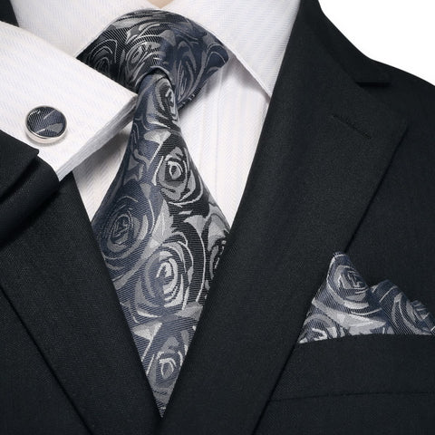Blue Gray Silk Necktie Set JPM18A91