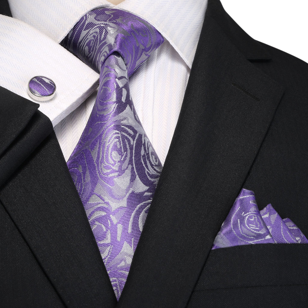 Purple and Gray Rose Necktie Set JPM18A93