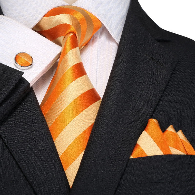 Orange and Beige Striped Necktie Set JPM18A94 - Toramon Necktie Company