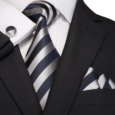 Navy Blue and Gray Striped Silk Necktie Set  JPM18A96 - Toramon Necktie Company