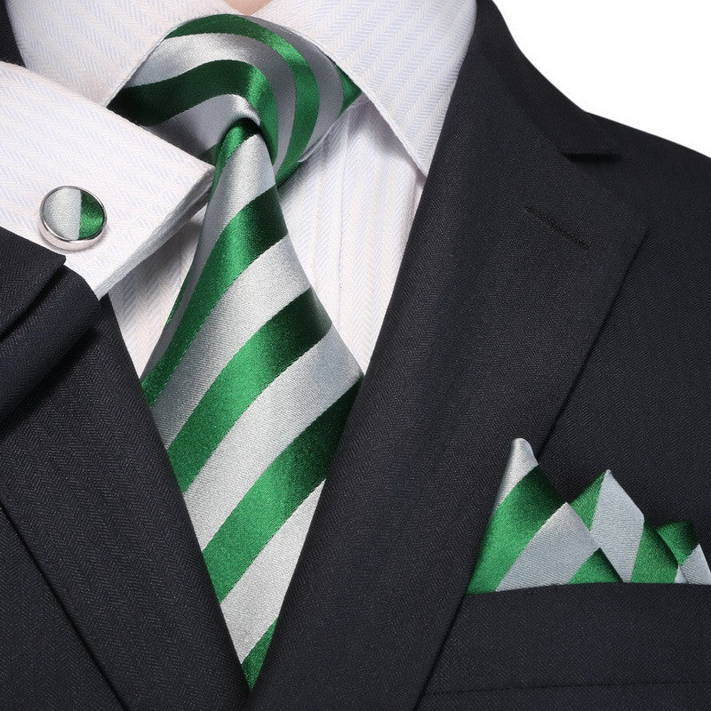 Green and Gray Striped Necktie Set JPM18A97 - Toramon Necktie Company