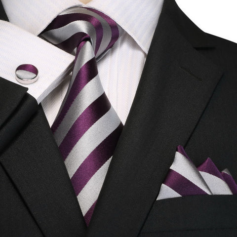 Mens Purple and Gray Striped Necktie Set JPM18A98