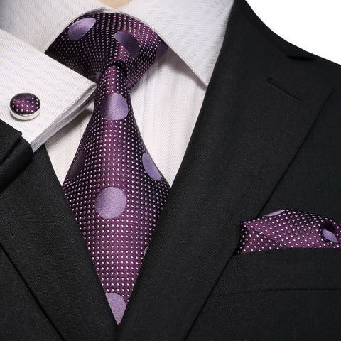 Purple Polkadot Necktie Set JPM18E09