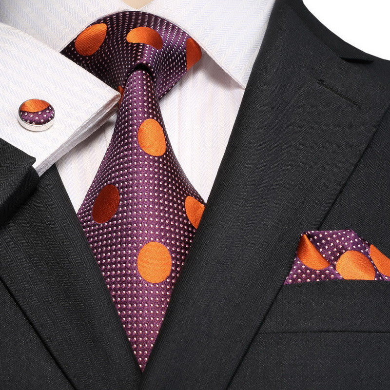 Purple and Orange Silk Necktie Set JPM18E10