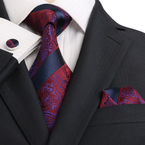 Navy Blue and Burgundy Silk Necktie Set JPM18E13 - Toramon Necktie Company