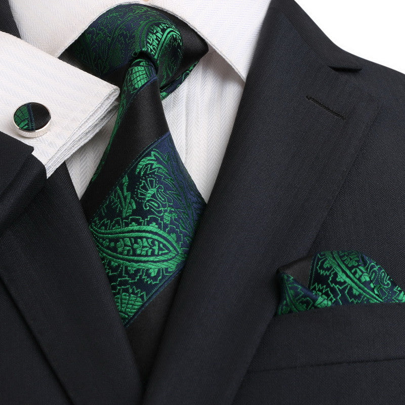 Blue,Green and Black Silk Necktie Set JPM18E14 - Toramon Necktie Company