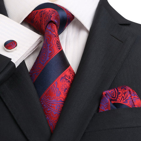 Navy Blue and Red JPM18E16 - Toramon Necktie Company