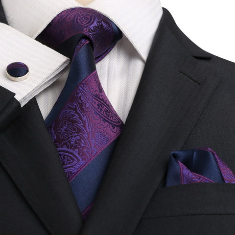 Navy and Purple Silk Necktie JPM18E17 - Toramon Necktie Company