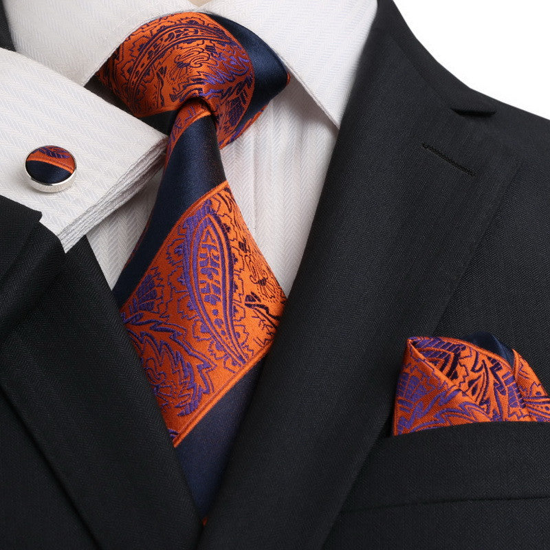 Navy and Orange Necktie Set JPM18E19 - Toramon Necktie Company