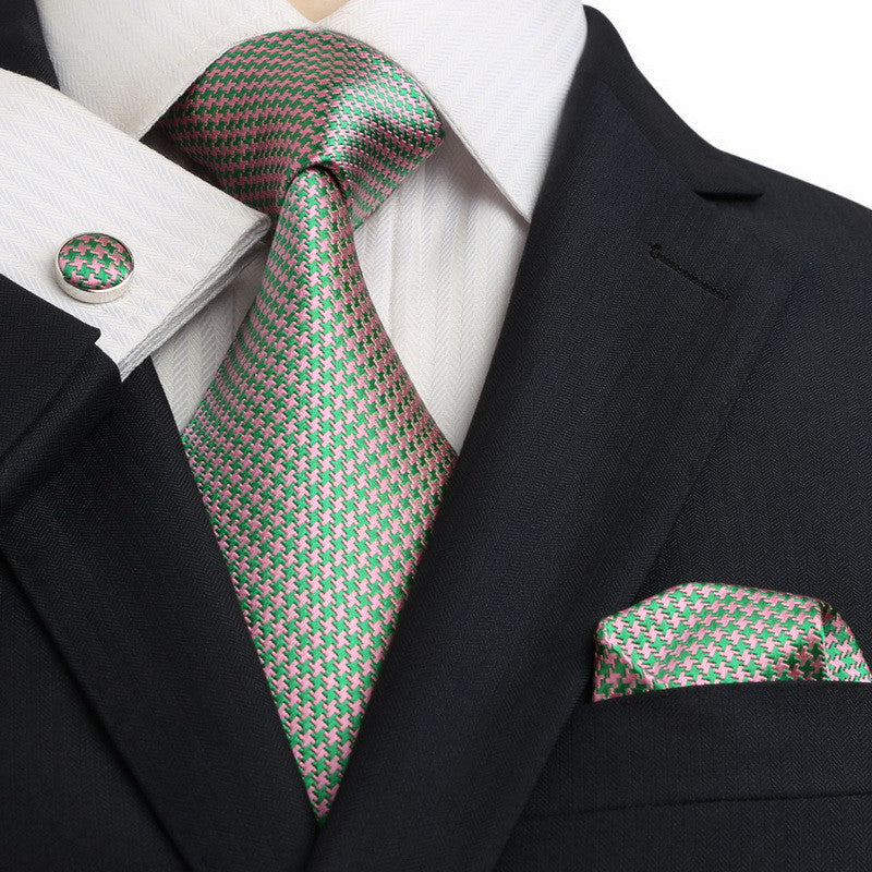 Green and Pink Silk Necktie Set JPM18E21 - Toramon Necktie Company