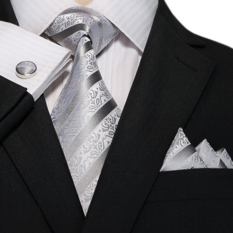 Grey Silk Necktie Set- JPM18A78