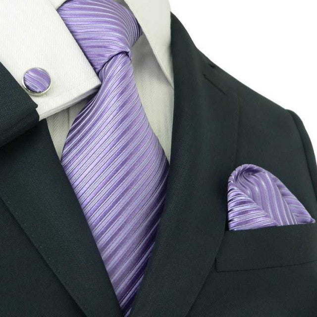 Purple Stripe Silk Wedding Tie Set  JPM18242