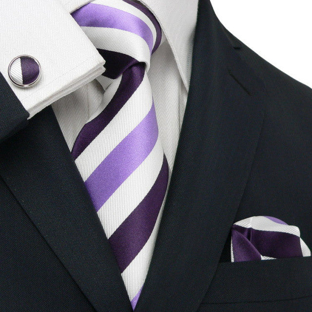 Purple , White and Lavender Toramon Silk Tie Set JPM1825V