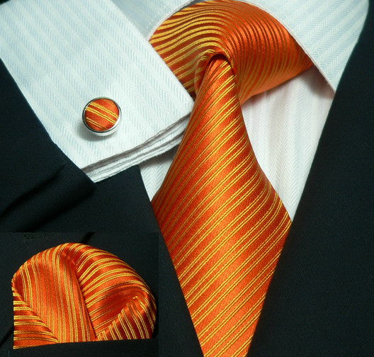 Orange Stripe Wedding Tie Set JPM1826C