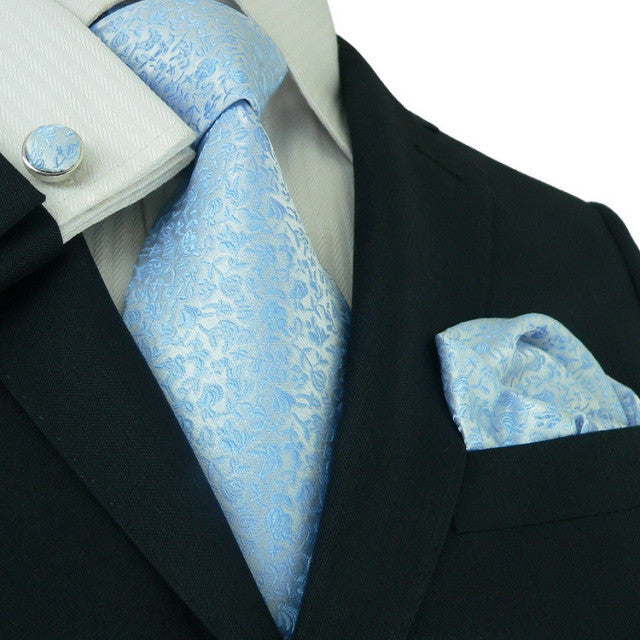 Blue and White Flora Necktie Set JPM27C - Toramon Necktie Company