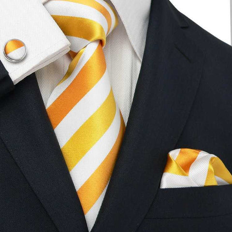 Rust,Gold and White Stripe Necktie Set JPM28V