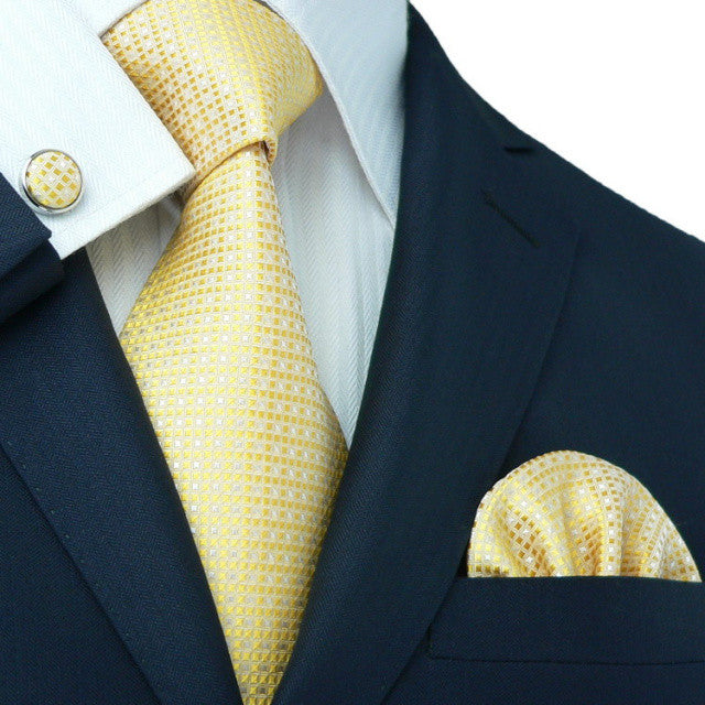 Yellow and White Necktie Set JPM1830A