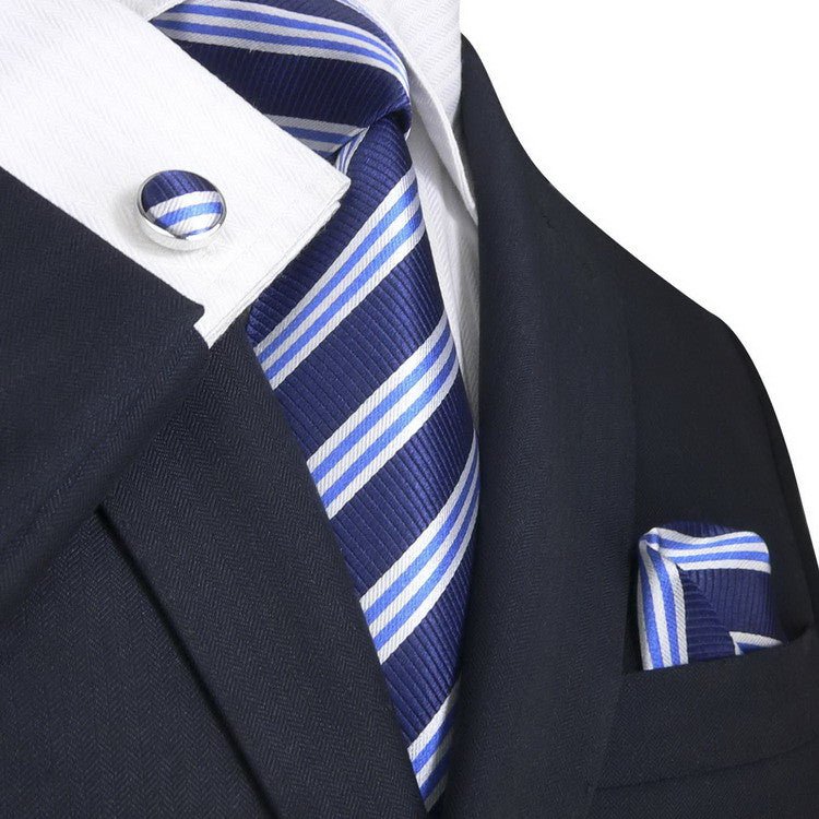 Blue and White Stripe Necktie Set JPM30N - Toramon Necktie Company