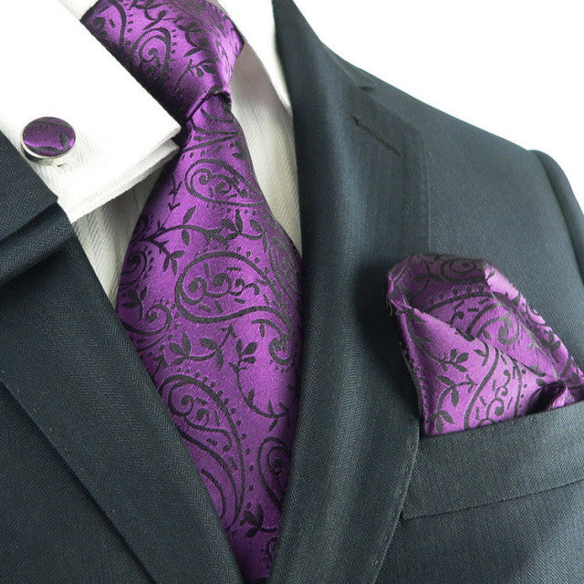 Purple and Black Paisley Wedding Tie Set  JPM331