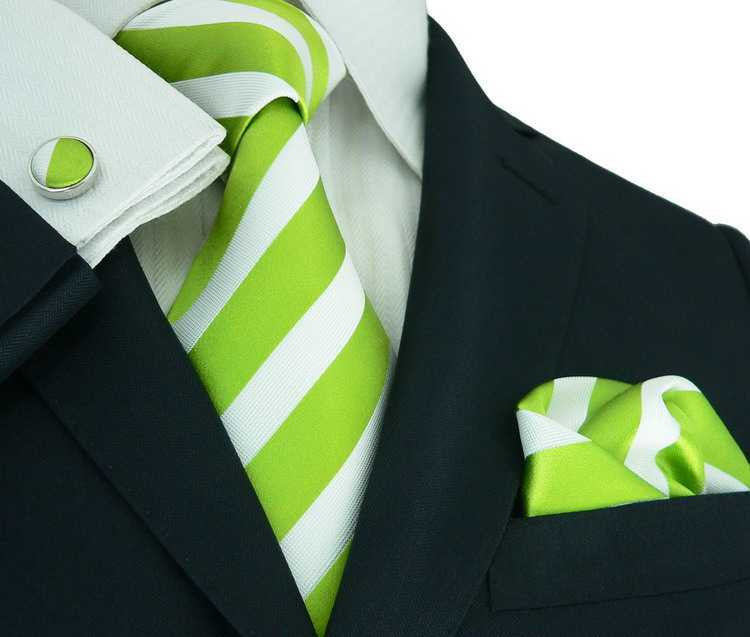Lime Green and White Stripe Silk Necktie Set JPM335 - Toramon Necktie Company