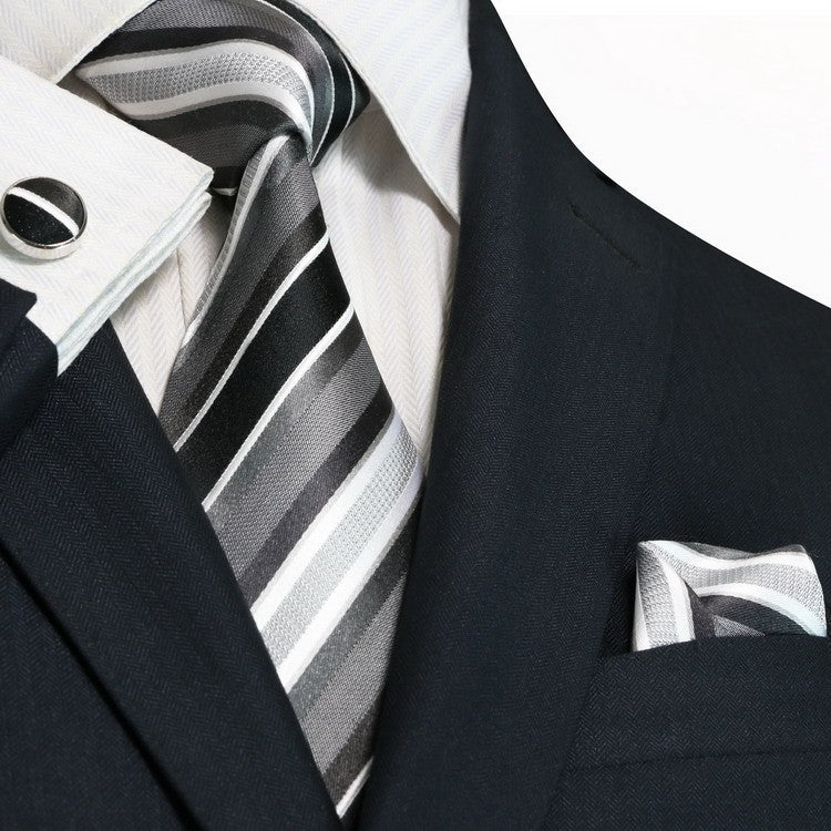 Black,Grey and White Necktie Set JPM42N - Toramon Necktie Company