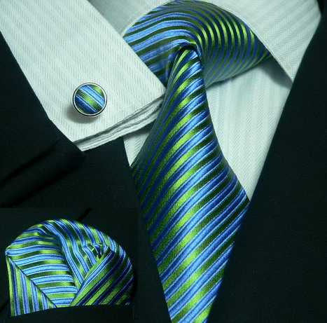 Peacock Blue and Green Stripe  Wedding Tie Set JPM44C