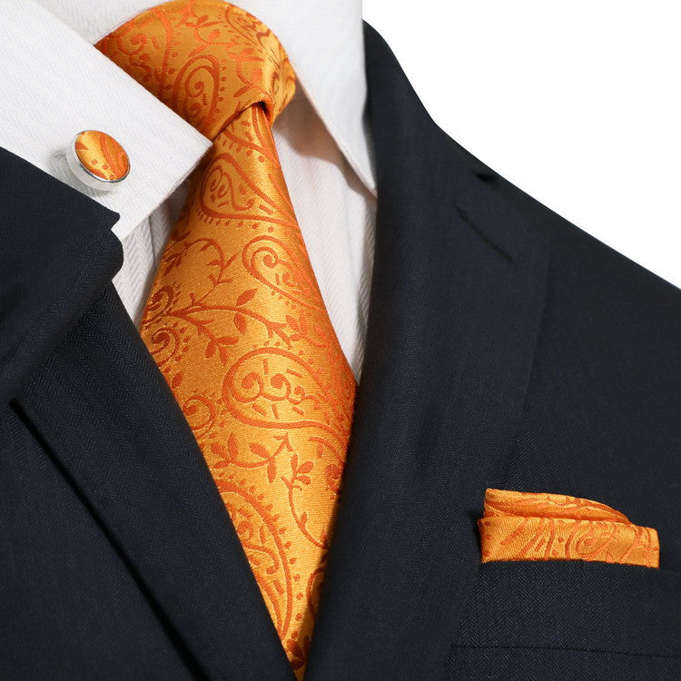 Orange Paisley Wedding  Tie Set JPM1844G - Toramon Necktie Company
