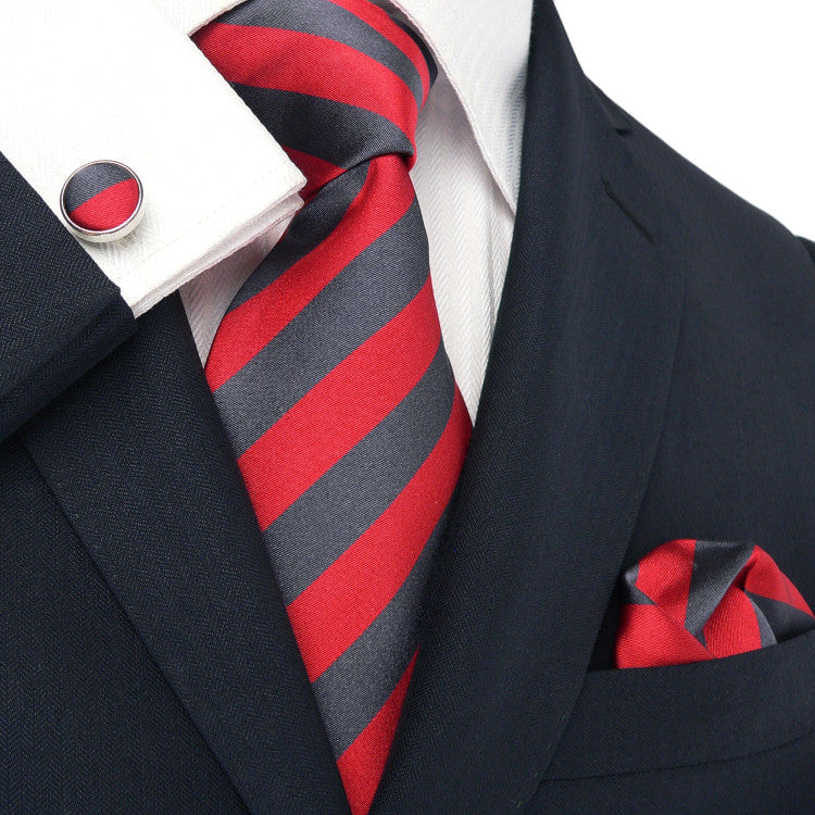 Red and Charcoal Grey Necktie Set JPM529
