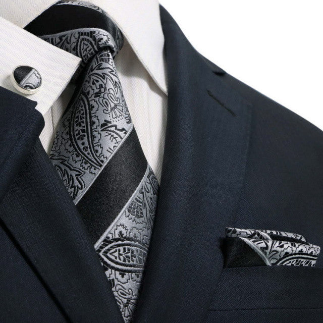 Black and Grey Paisley Necktie Set JPM52W - Toramon Necktie Company