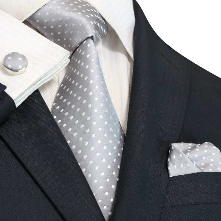 Gray and White Polka Dot Necktie Set JPM53N - Toramon Necktie Company