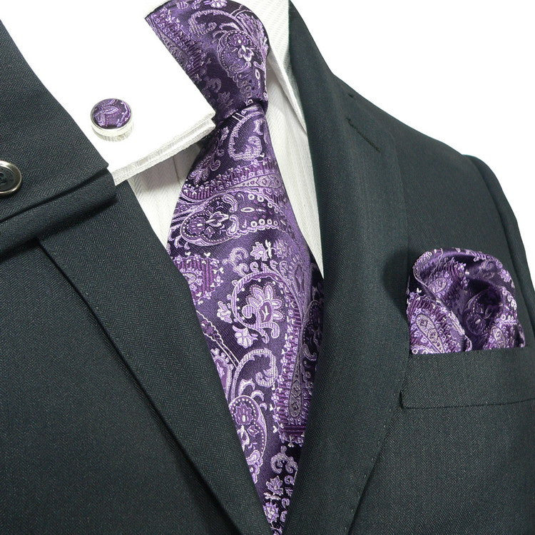 Purple Paisley Wedding Tie Set  JPM543