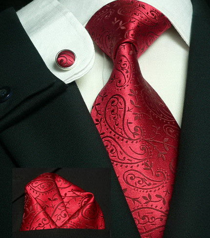 Red  Paisley Wedding Tie Set JPM18546