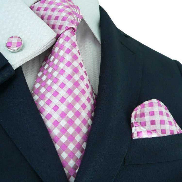 Pink and White  WeddingTie Set JPM18550