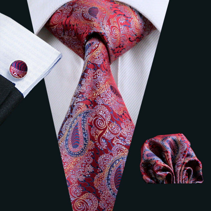 Red,Blue and Orange Paisley Necktie Set LBW552