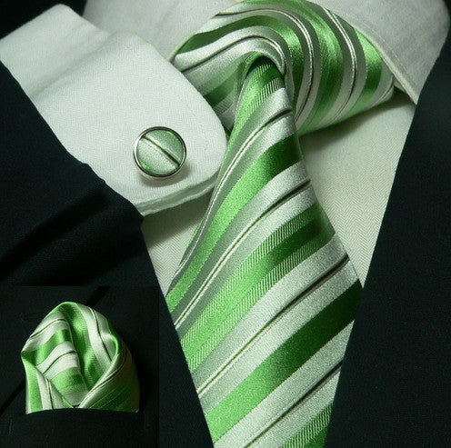 Green and White Stripe Wedding Tie Set JPM55E - Toramon Necktie Company